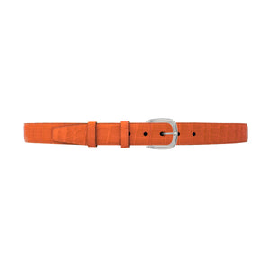 "1 1/4"" Orange Seasonal Belt with Oxford Cocktail Buckle in Polished Nickel"