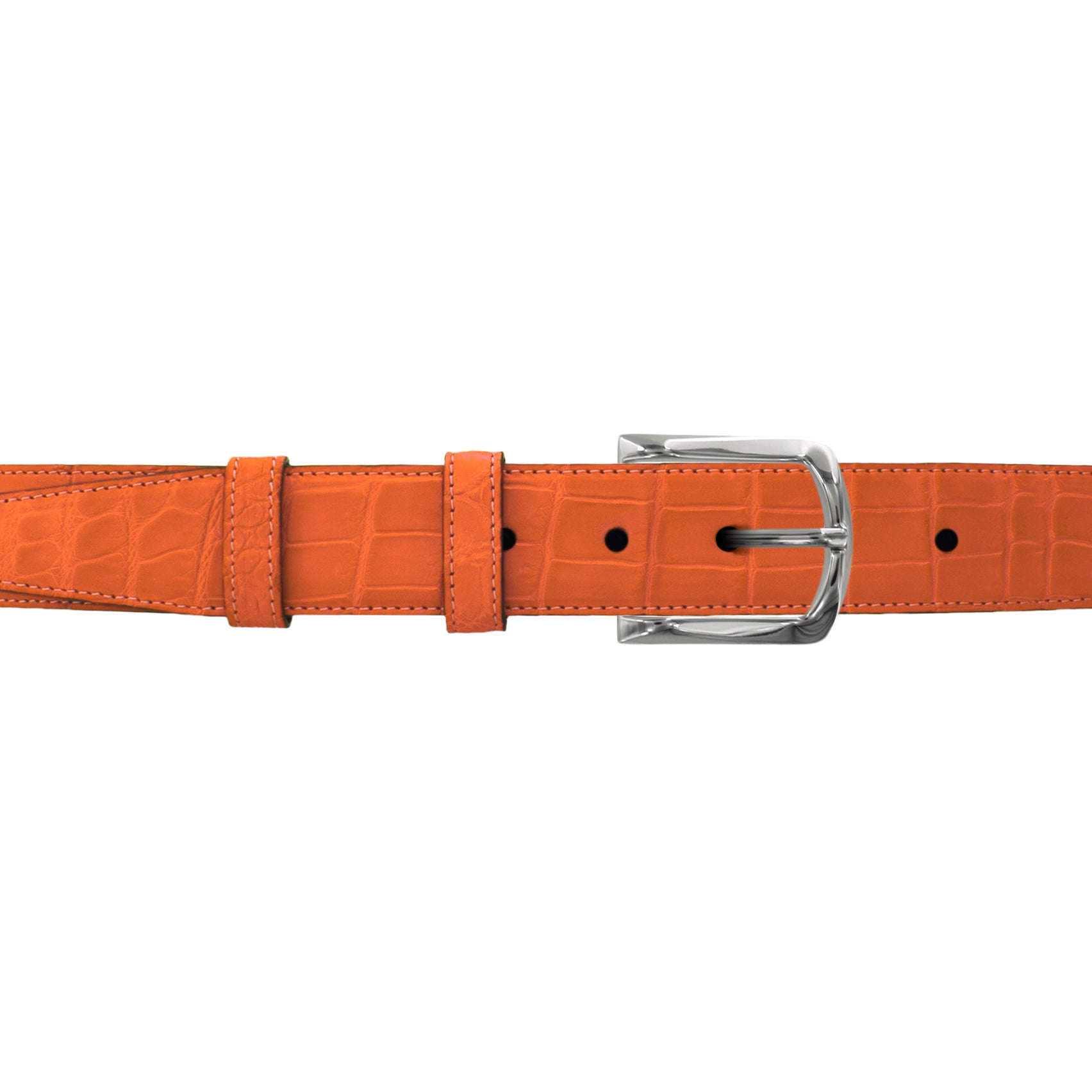 "1 1/4"" Orange Seasonal Belt with Sutton Dress Buckle in Polished Nickel"