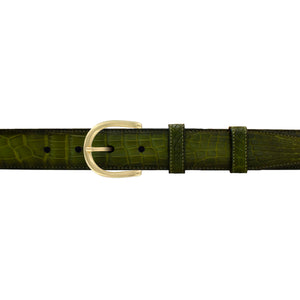 "1 1/4"" Pine Patina Belt with Denver Casual Buckle in Brass"