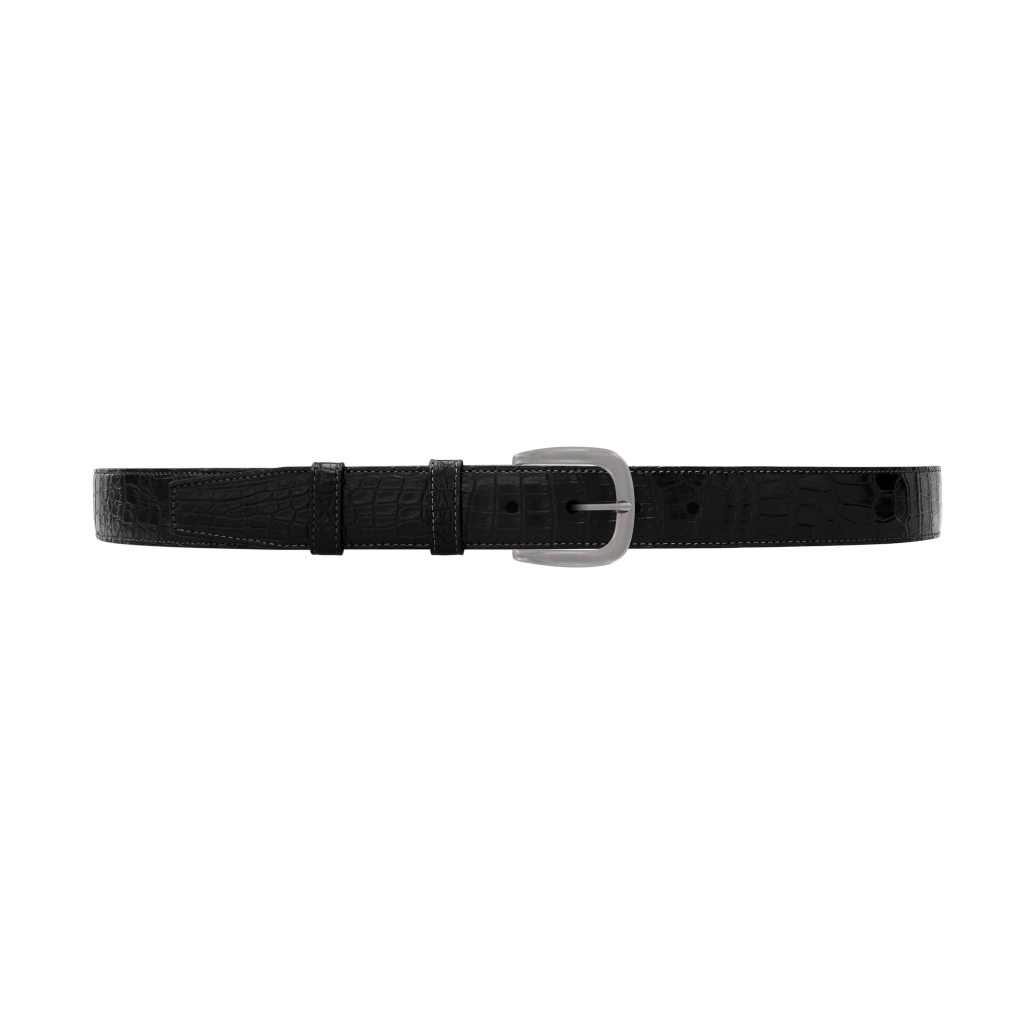 "1 1/4"" Raven Classic Belt with Oxford Cocktail Buckle in Matt Nickel"