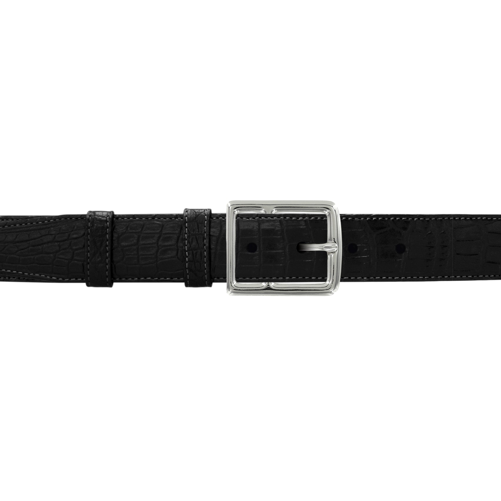 "1 1/4"" Raven Classic Belt with Crawford Casual Buckle in Polished Nickel"