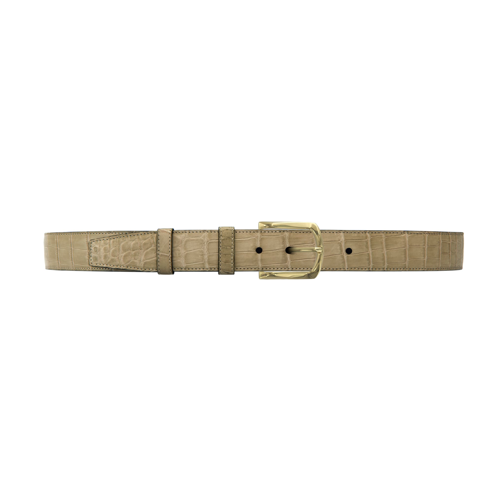 "1 1/4"" Sand Classic Belt with Sutton Dress Buckle in Brass"