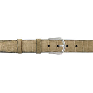 "1 1/4"" Sand Classic Belt with Derby Cocktail Buckle in Polished Nickel"