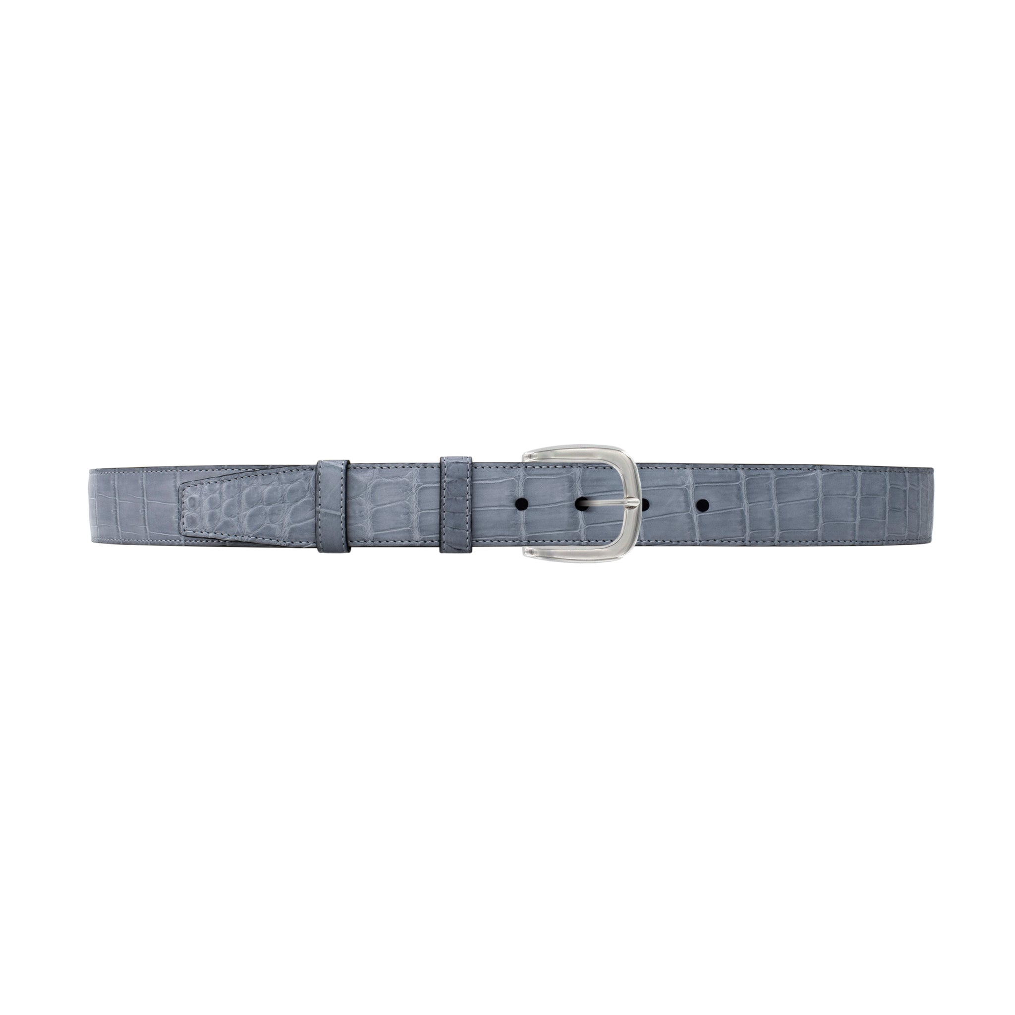 "1 1/4"" Slate Seasonal Belt with Oxford Cocktail Buckle in Polished Nickel"