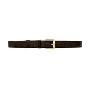 "1 1/4"" Walnut Patina Belt with Austin Casual Buckle in Brass"