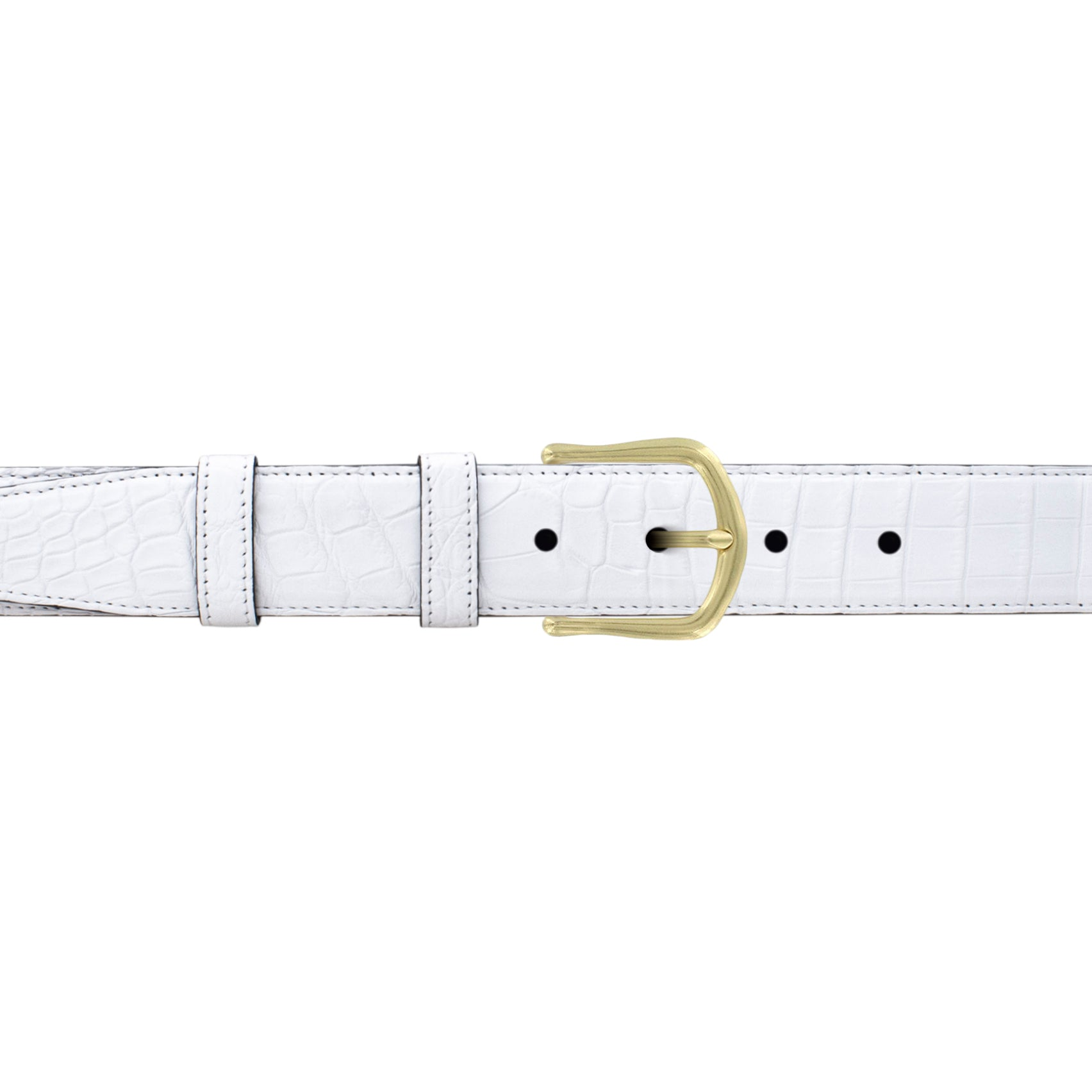 "1 1/4"" White Classic Belt with Derby Cocktail Buckle in Brass"
