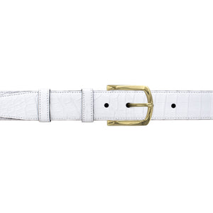 "1 1/4"" White Classic Belt with Sutton Dress Buckle in Brass"