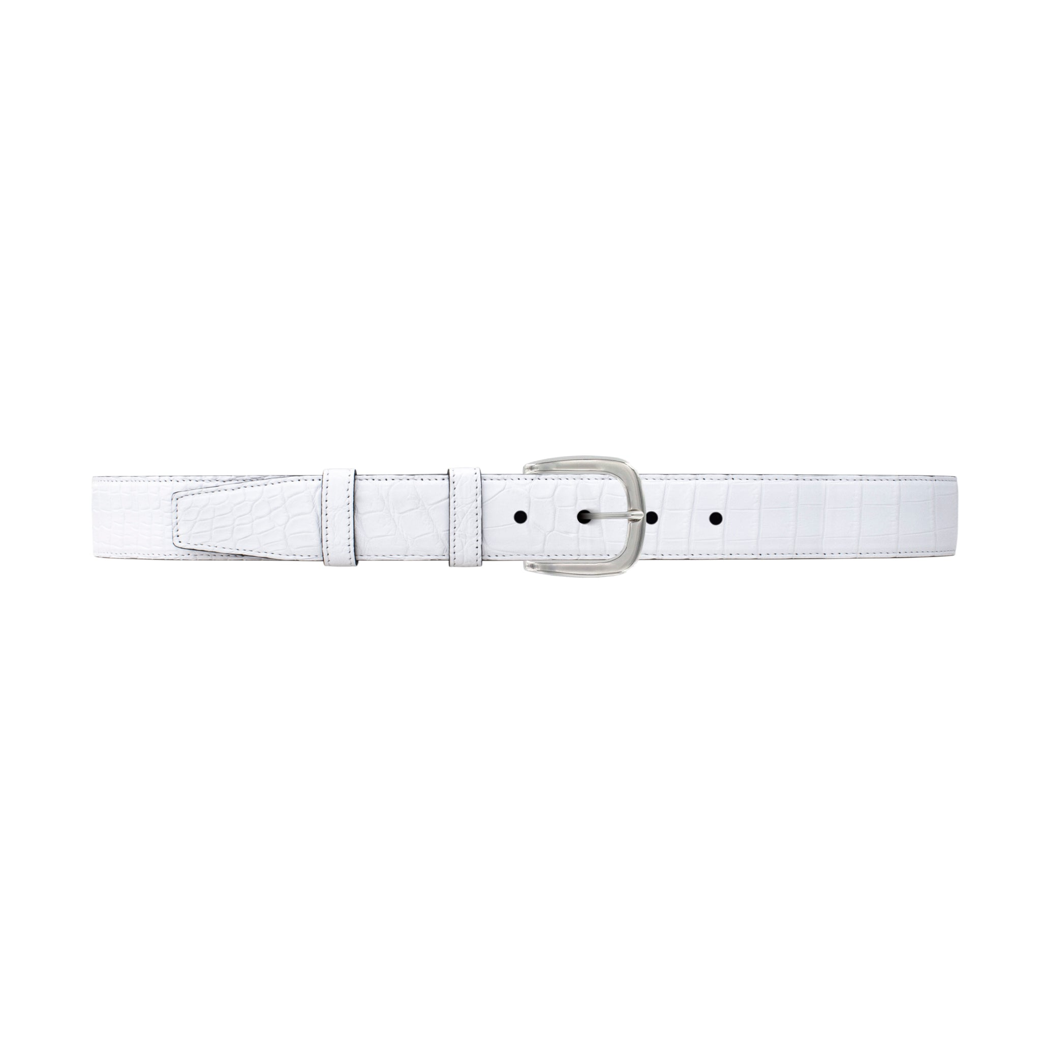 "1 1/4"" White Classic Belt with Oxford Cocktail Buckle in Polished Nickel"