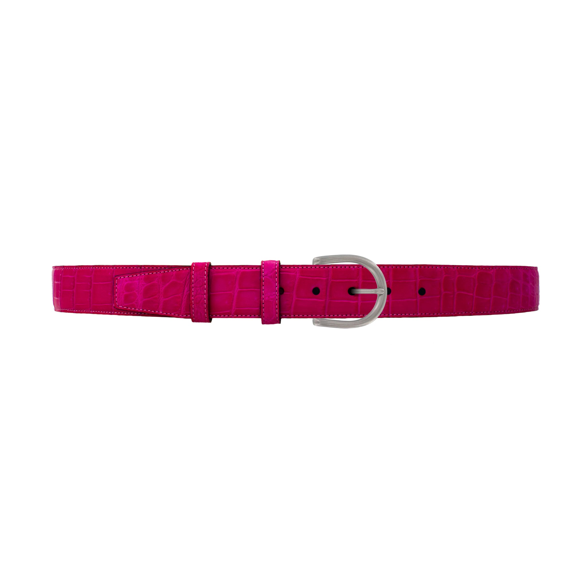 "1 1/2"" Magenta Seasonal Belt with Denver Casual Buckle in Matt Nickel"