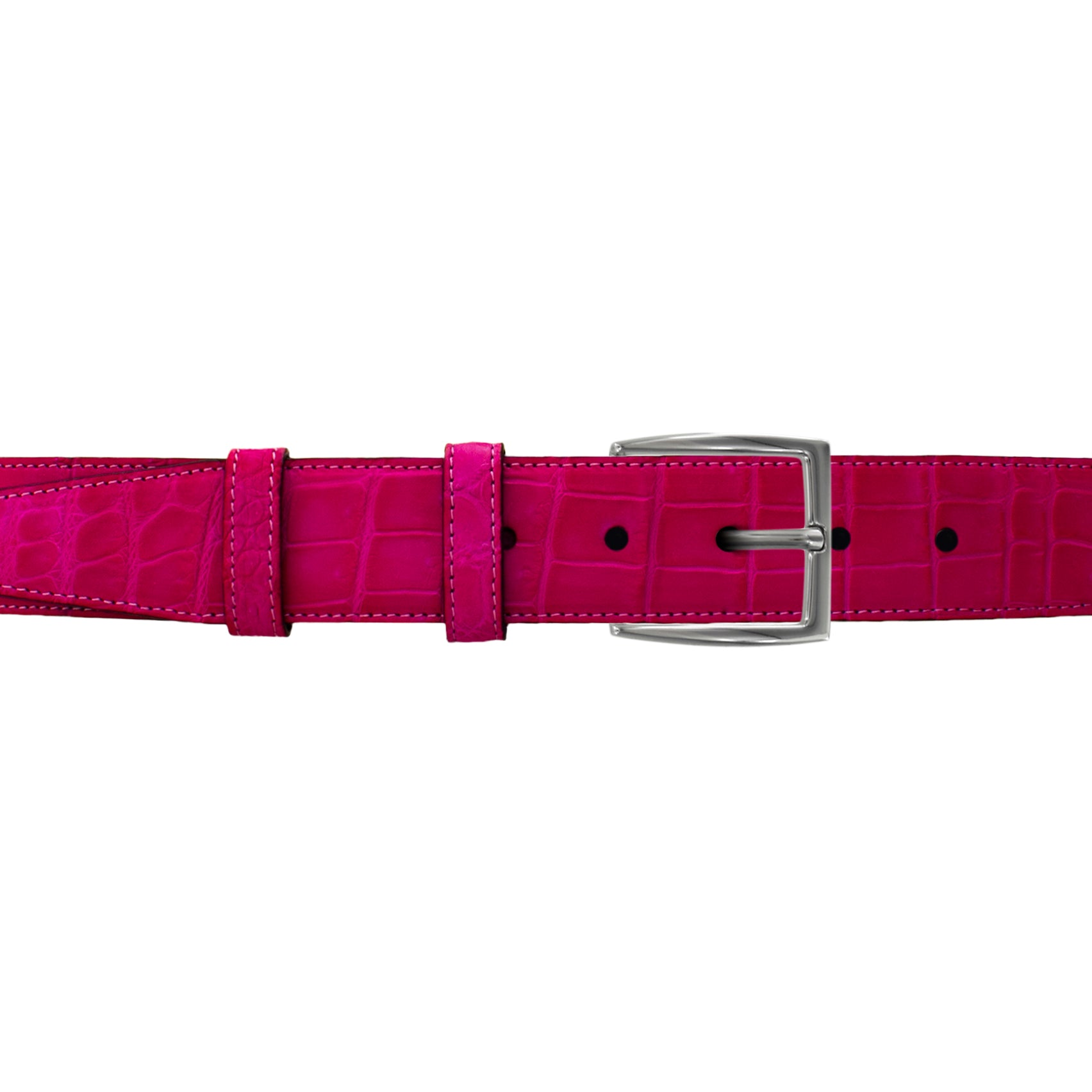 "1 1/2"" Magenta Seasonal Belt with Winston Dress Buckle in Matt Nickel"