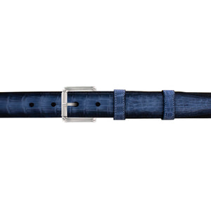 "1"" Azure Patina Belt with Austin Casual Buckle in Polished Nickel"