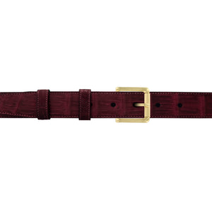"1"" Burgundy Seasonal Belt with Austin Casual Buckle in Brass"