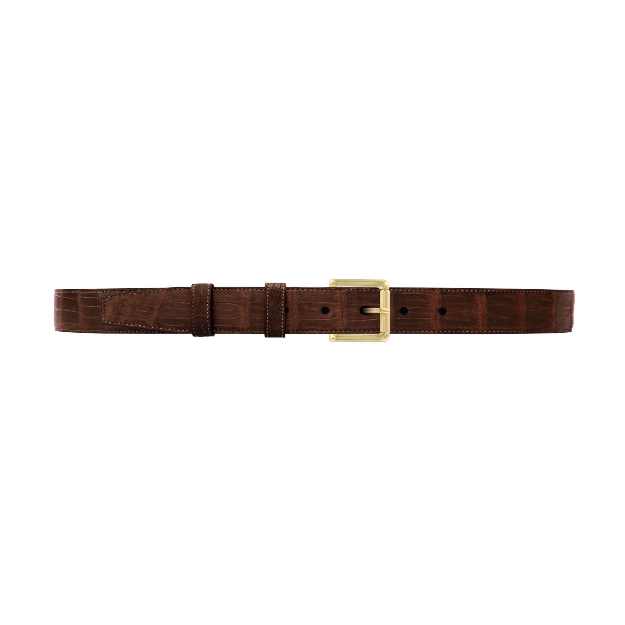 "1"" Cognac Classic Belt with Austin Casual Buckle in Brass"