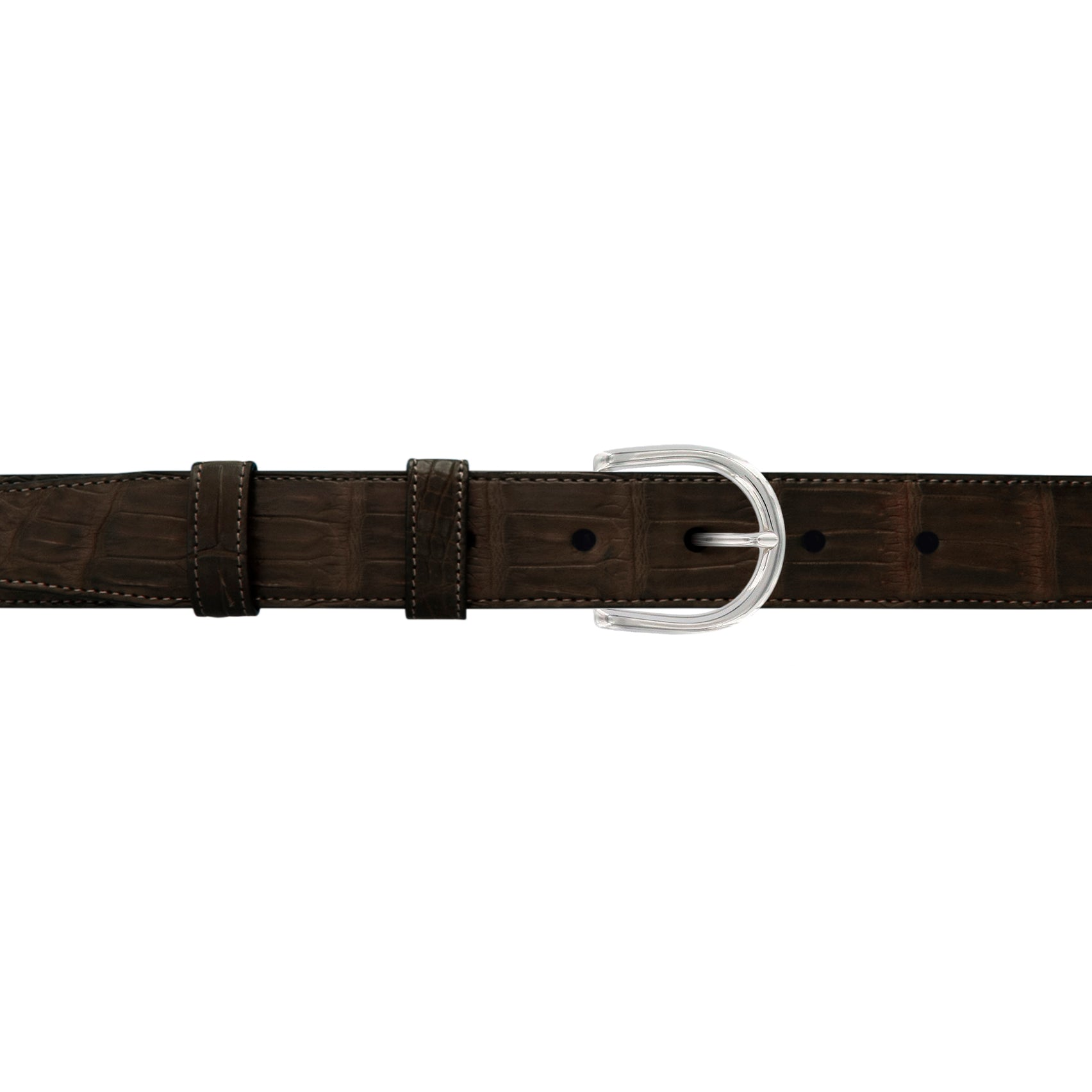 "1"" Espresso Classic Belt with Denver Casual Buckle in Polished Nickel"