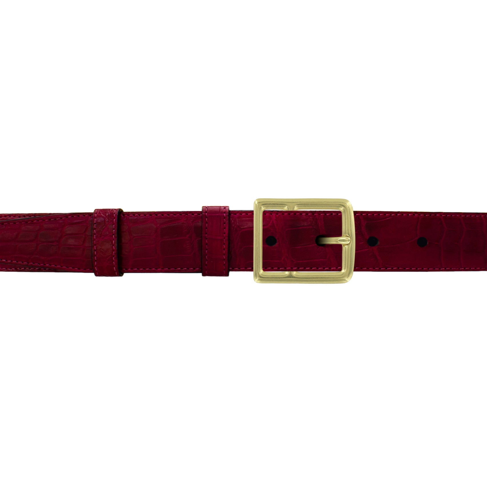 "1"" Garnet Classic Belt with Crawford Casual Buckle in Brass"