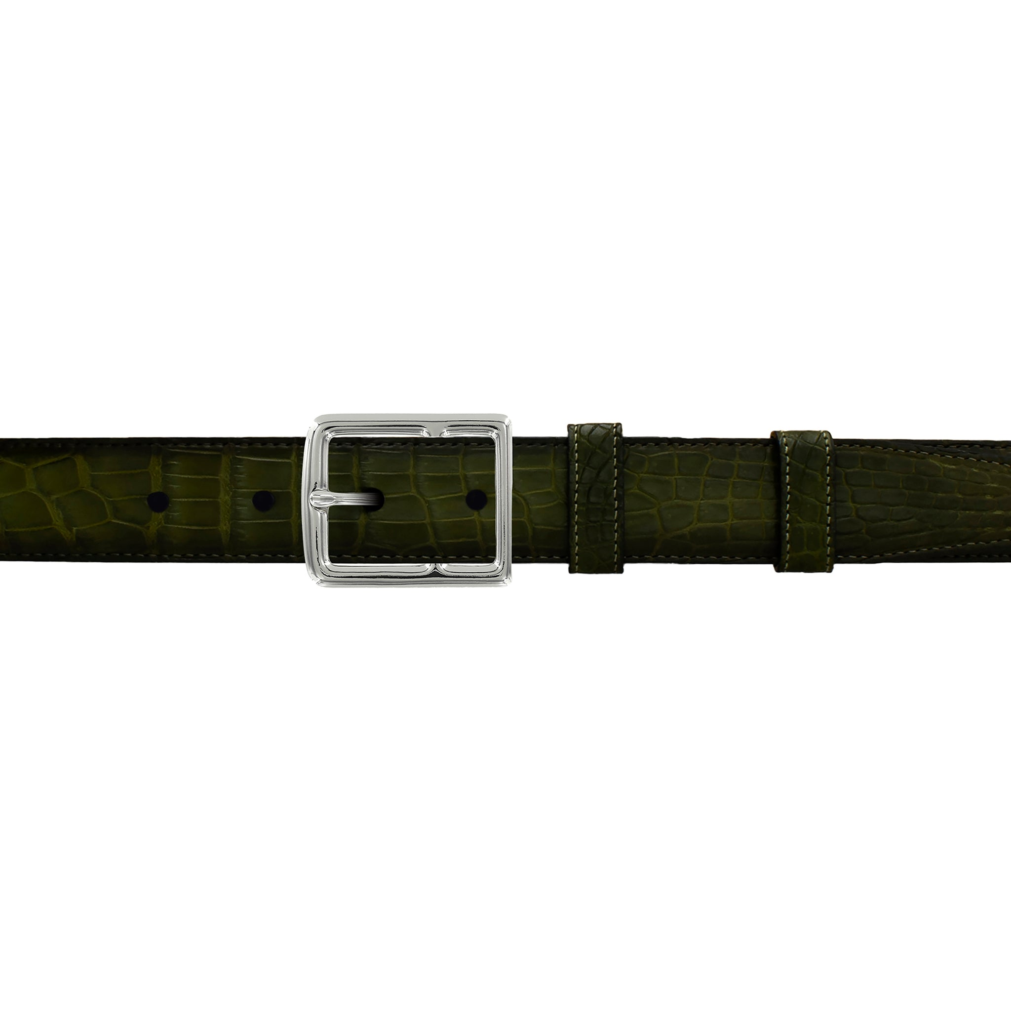 "1"" Olive Patina Belt with Crawford Casual Buckle in Polished Nickel"
