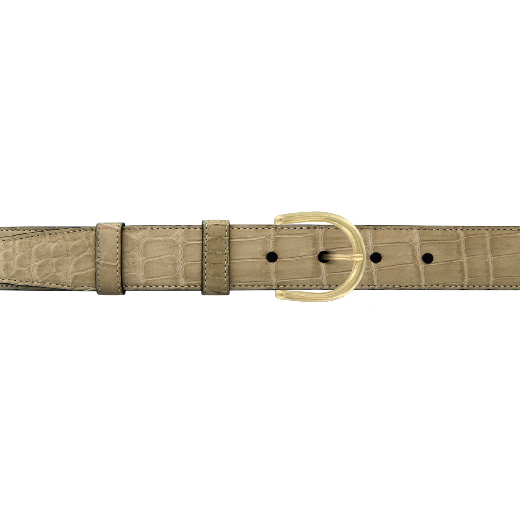 "1"" Sand Classic Belt with Denver Casual Buckle in Brass"