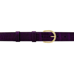 "1"" Violet Classic Belt with Denver Casual Buckle in Brass"