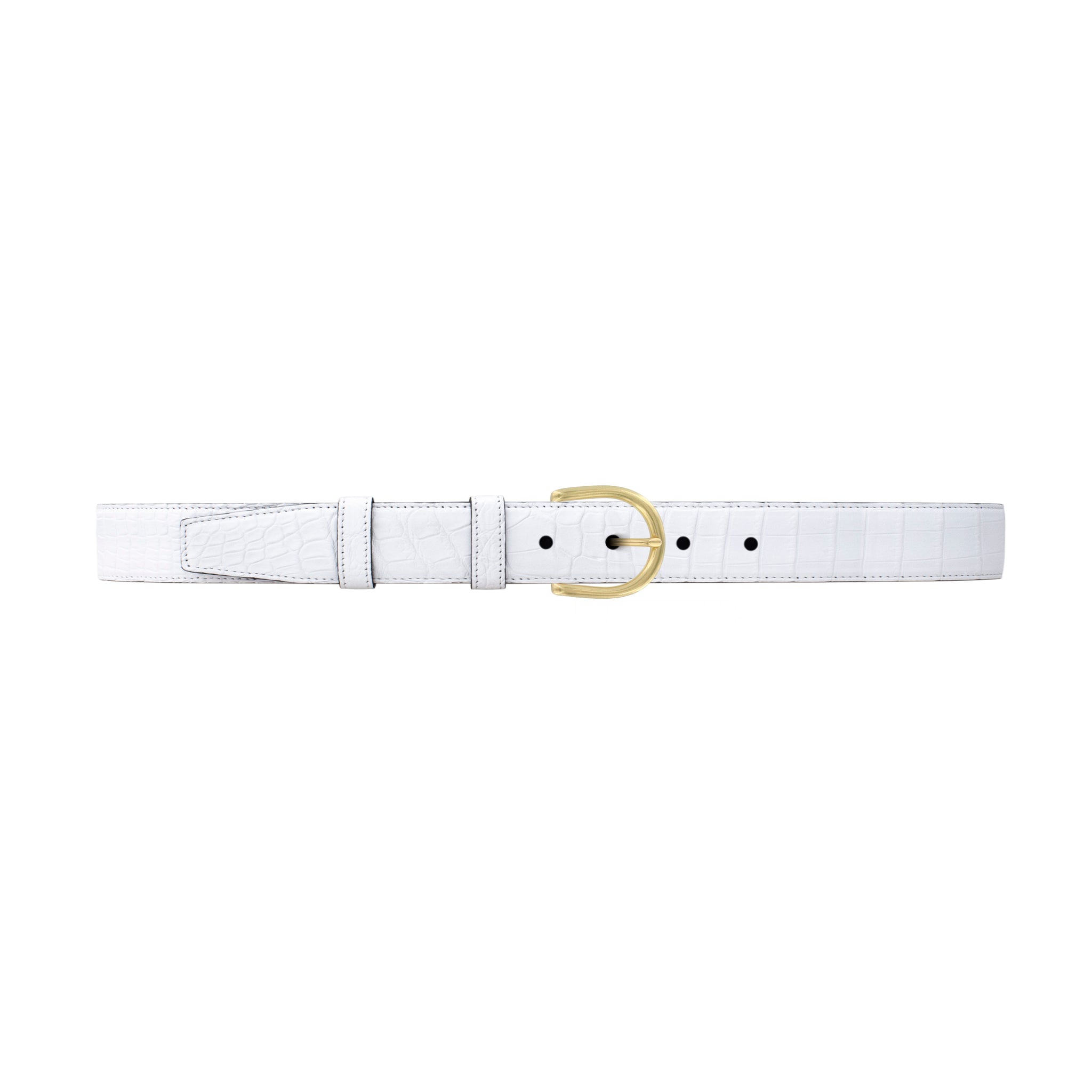 "1"" White Classic Belt with Denver Casual Buckle in Brass"