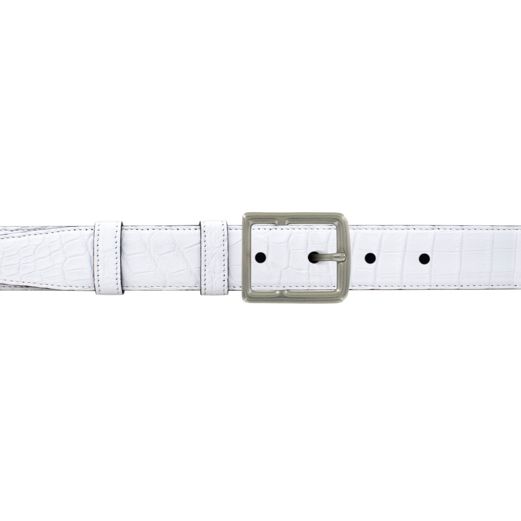 "1"" White Classic Belt with Crawford Casual Buckle in Matt Nickel"