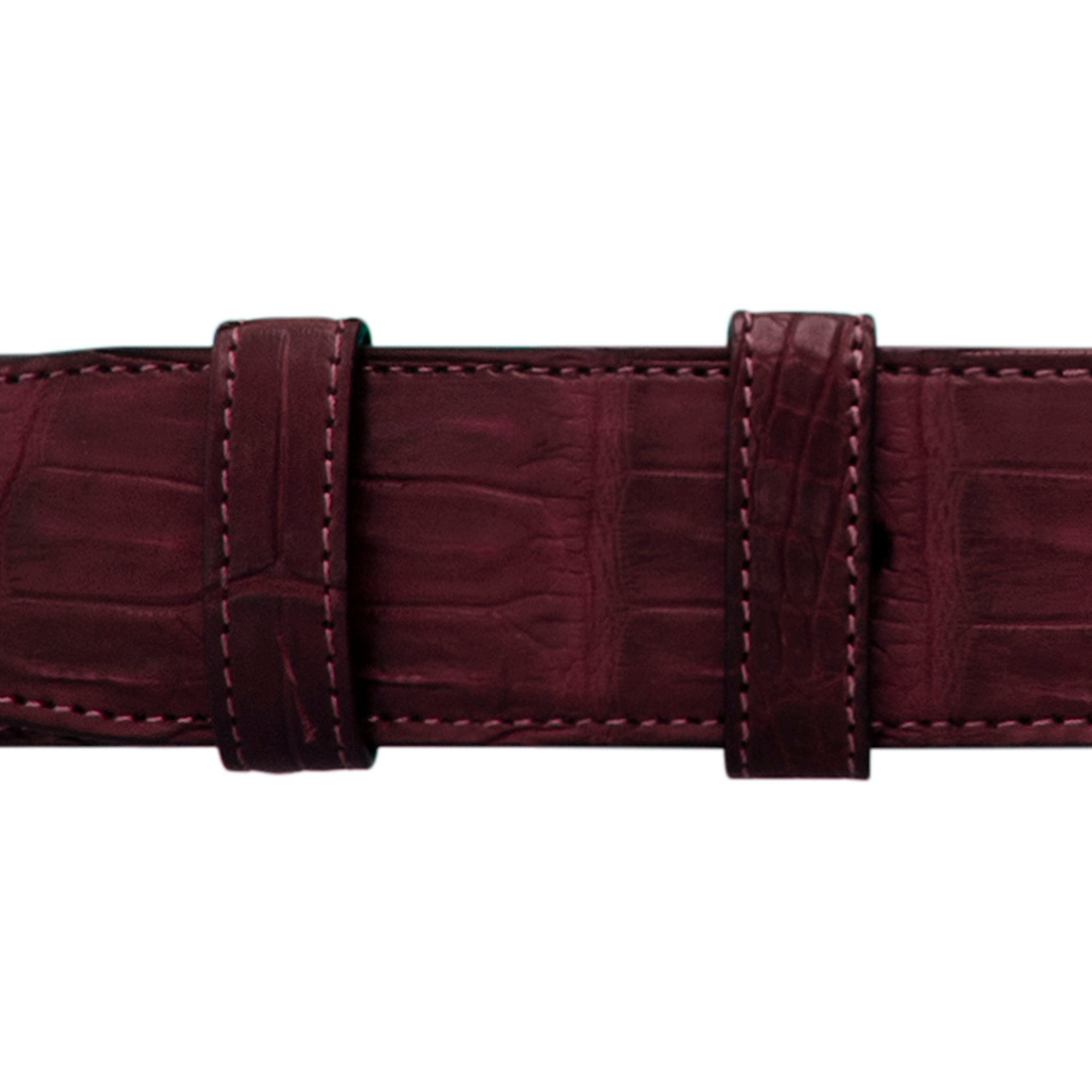 "1 1/4"" Burgundy Seasonal Belt with Derby Cocktail Buckle in Polished Nickel"
