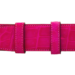 "1 1/2"" Fuchsia Seasonal Belt with Oxford Cocktail Buckle in Brass"