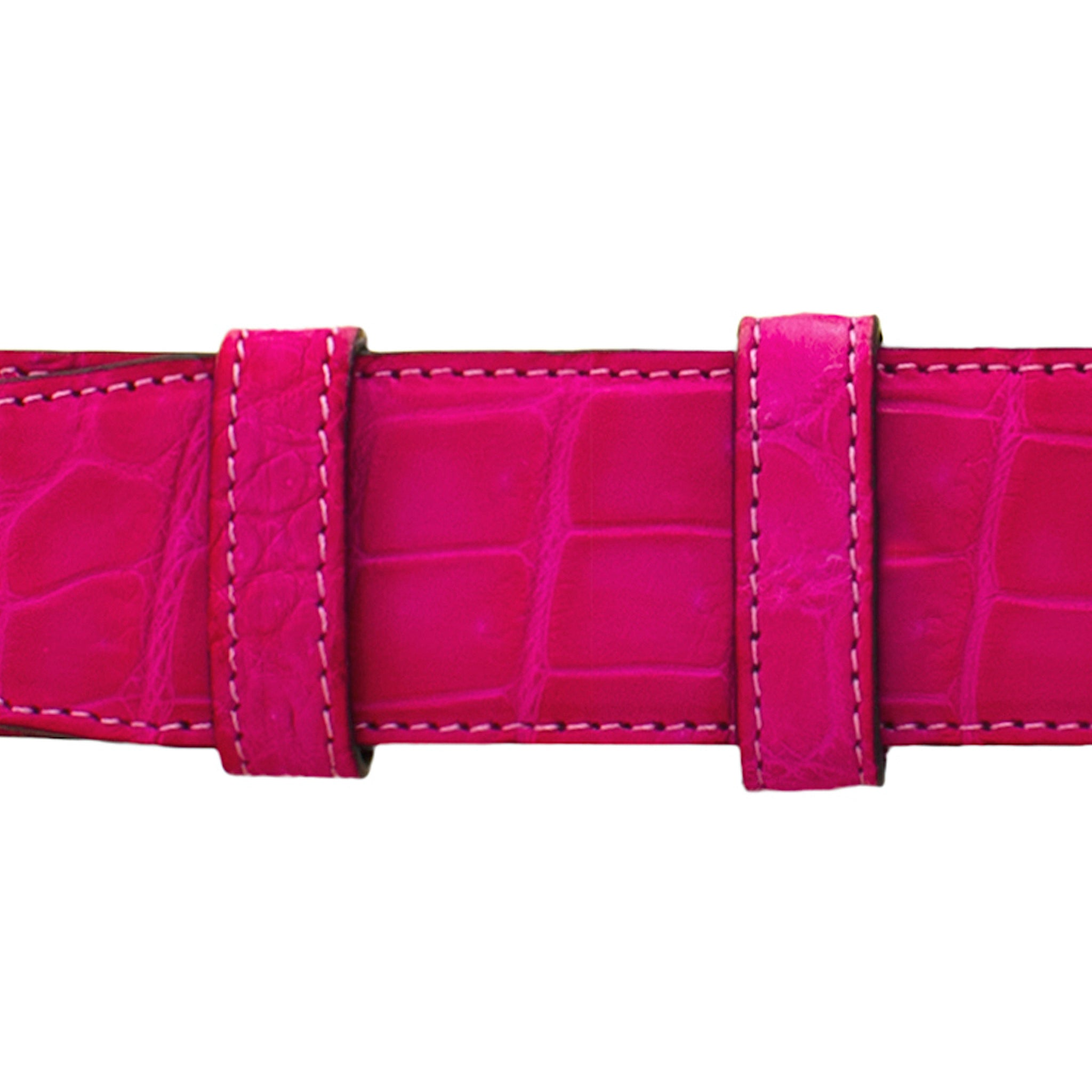 "1 1/4"" Fuchsia Seasonal Belt with Derby Cocktail Buckle in Polished Nickel"