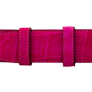 "1 1/2"" Magenta Seasonal Belt with Oxford Cocktail Buckle in Brass"