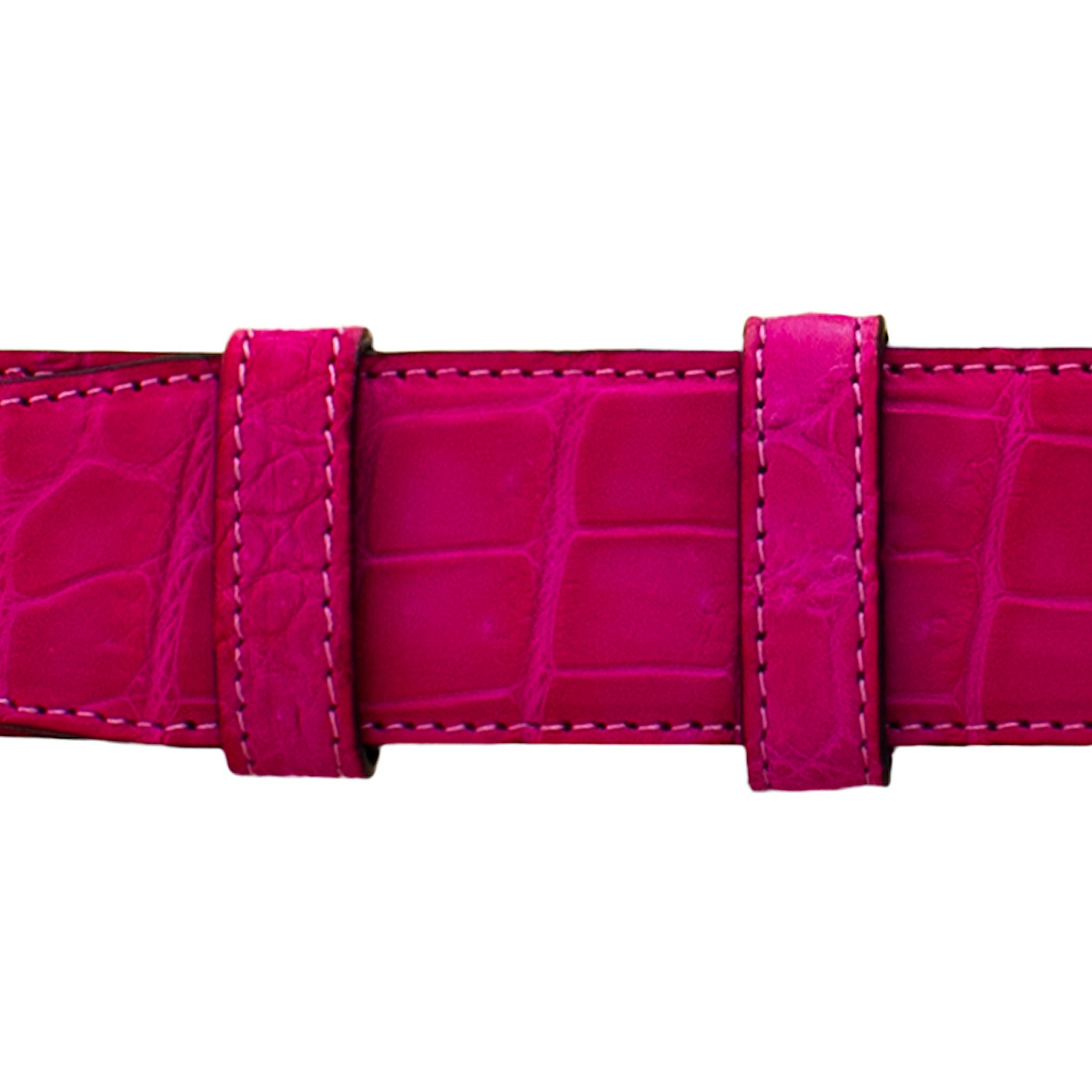 "1 1/4"" Magenta Seasonal Belt with Sutton Dress Buckle in Brass"