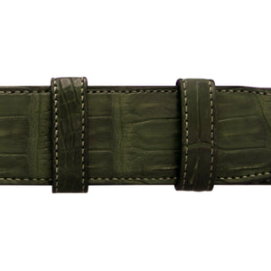 "1 1/4"" Olive Seasonal Belt with Derby Cocktail Buckle in Polished Nickel"