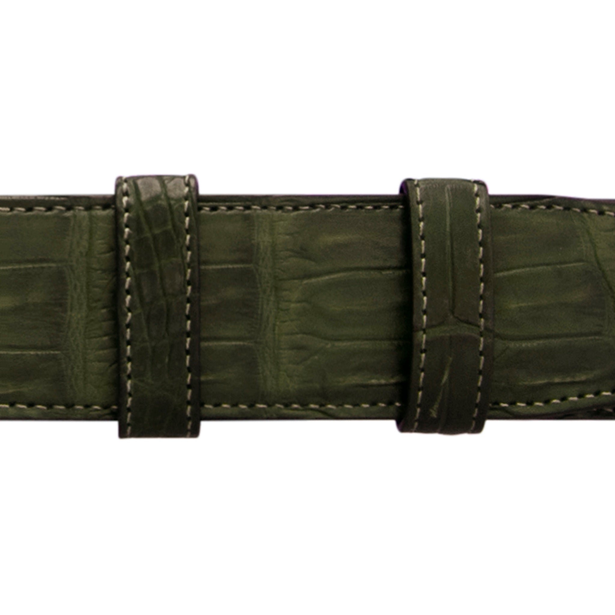 "1 1/4"" Olive Seasonal Belt with Winston Dress Buckle in Polished Nickel"