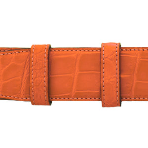 "1 1/2"" Orange Seasonal Belt with Crawford Casual Buckle in Polished Nickel"