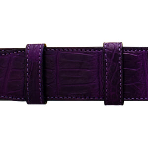 "1 1/2"" Violet Classic Belt with Derby Cocktail Buckle in Polished Nickel"