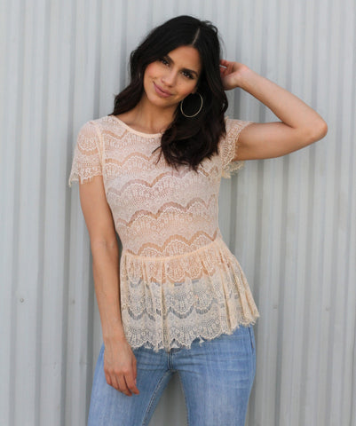 Peach Lace Peplum Top