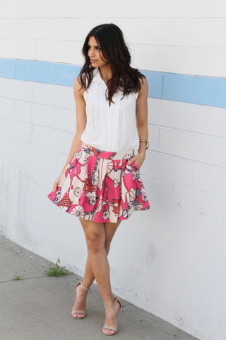 Pink Graphic Print Skirt