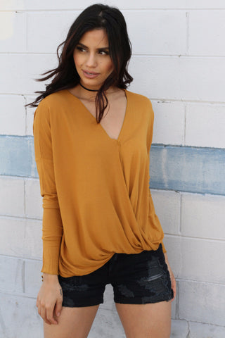 Mustard Surplice Top