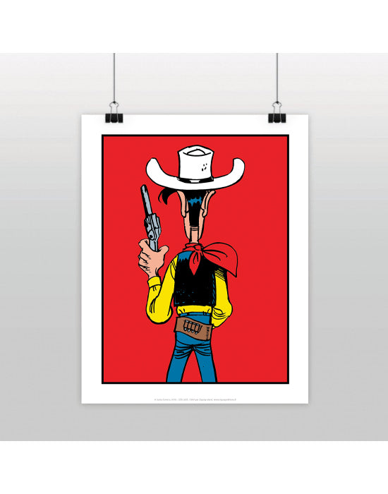 AFFICHE LUCKY LUKE DOS ROUGE