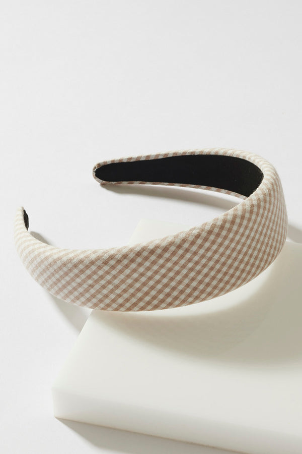 WIDE GINGHAM HEADBAND