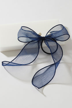 SHEER PEARL HAIR TIE BOW