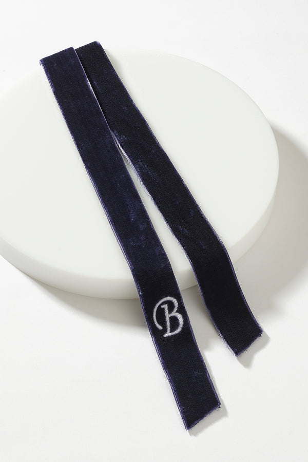 VELVET HAIR RIBBON WITH CUSTOM INITIAL