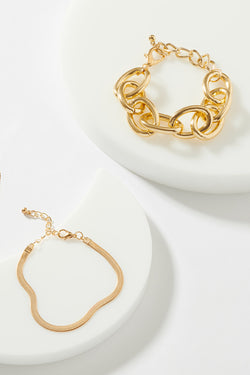 GOLD LINK AND STAMPED BRACELET SET