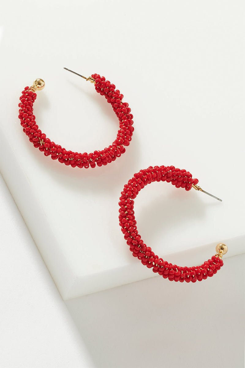 BEADED CRESCENT HOOPS