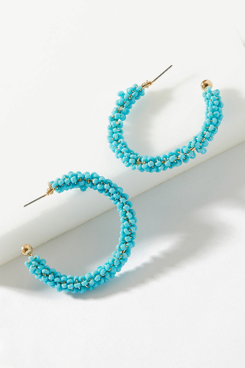 BEADED CRESCENT HOOP