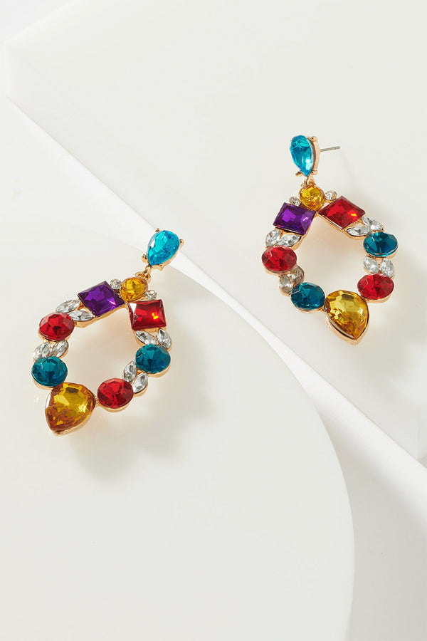 MIXED GEM TEARDROP EARRING
