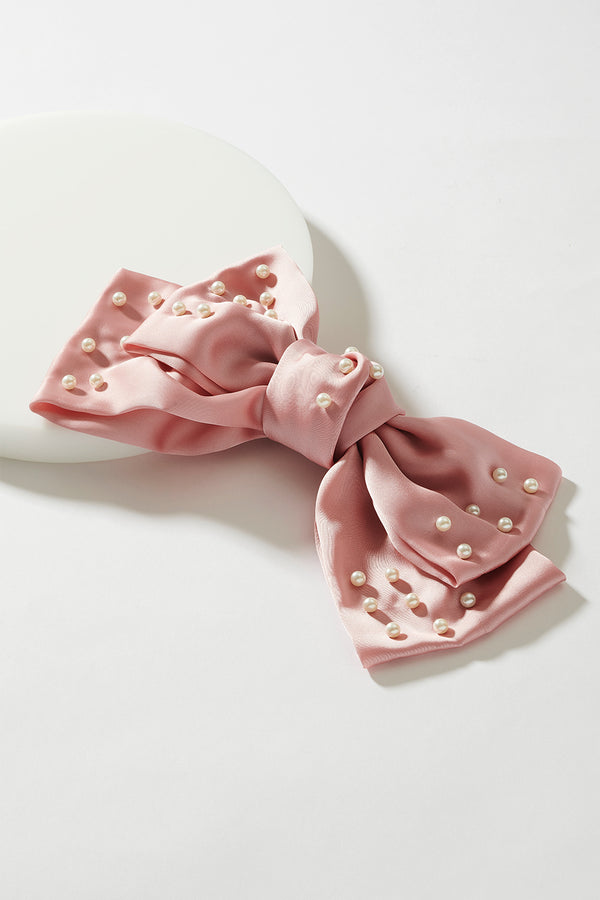 SILK ROXY BOW WITH PEARL ACCENT