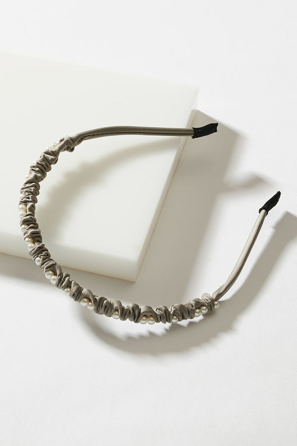 SATIN RUCHED PEARL HEADBAND