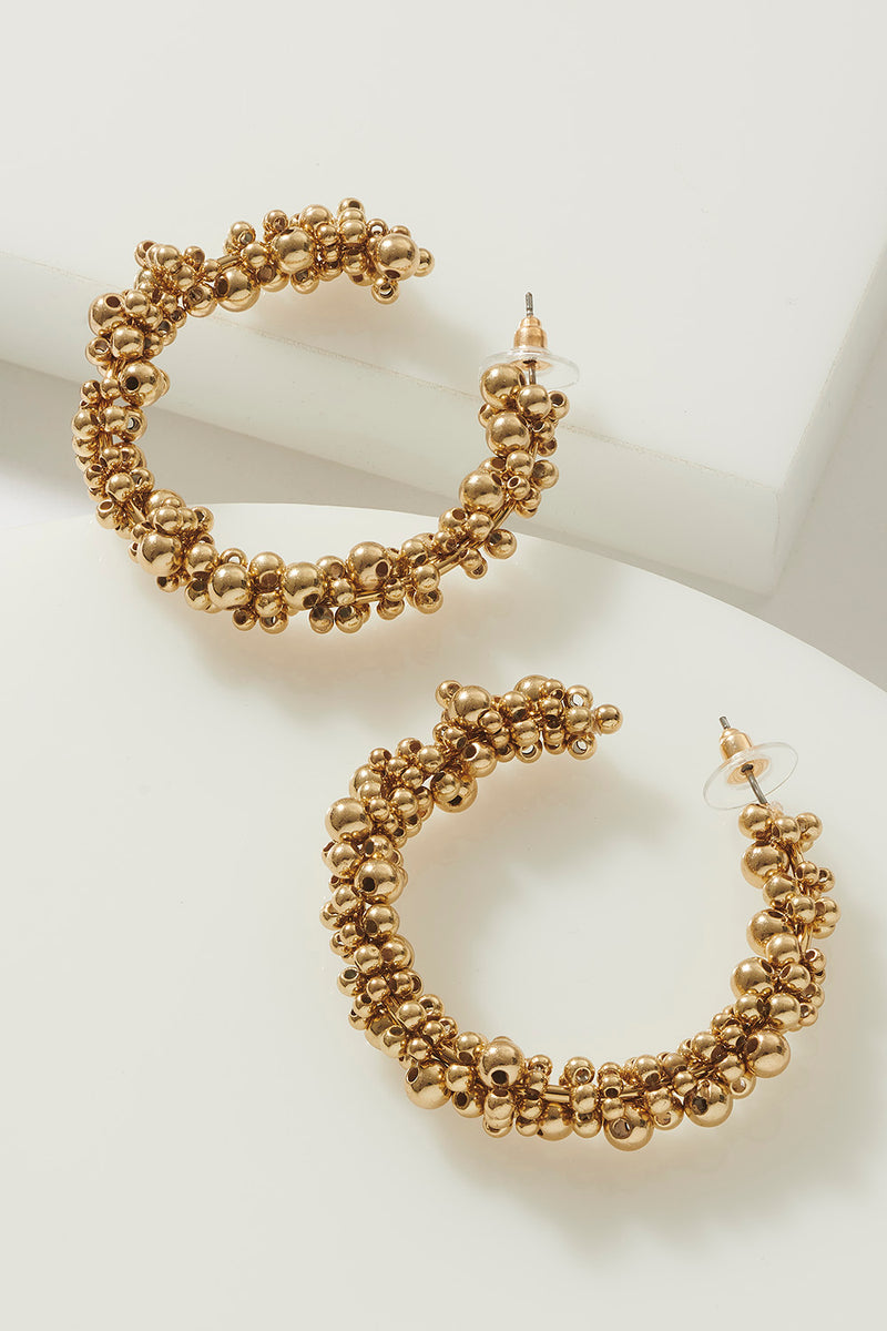 BEADED GILT HOOPS