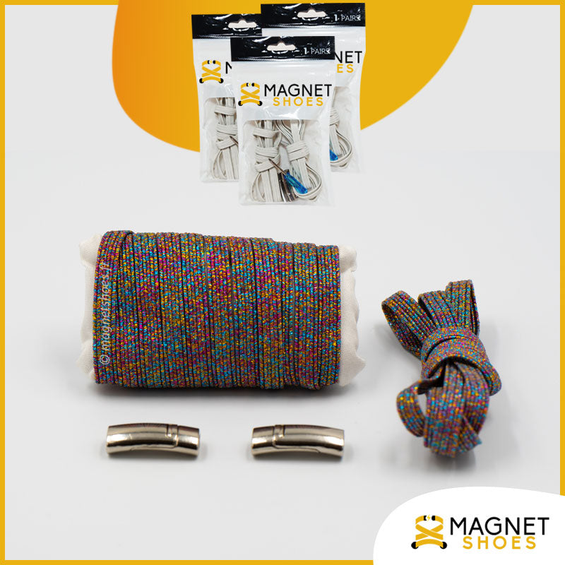 Lacet magnet shoes elastique brillant multi couleurs