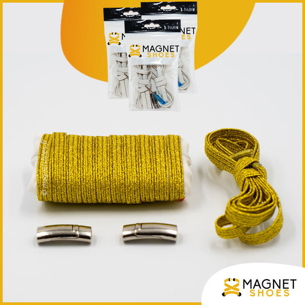 Lacet magnet shoes elastique brillant or