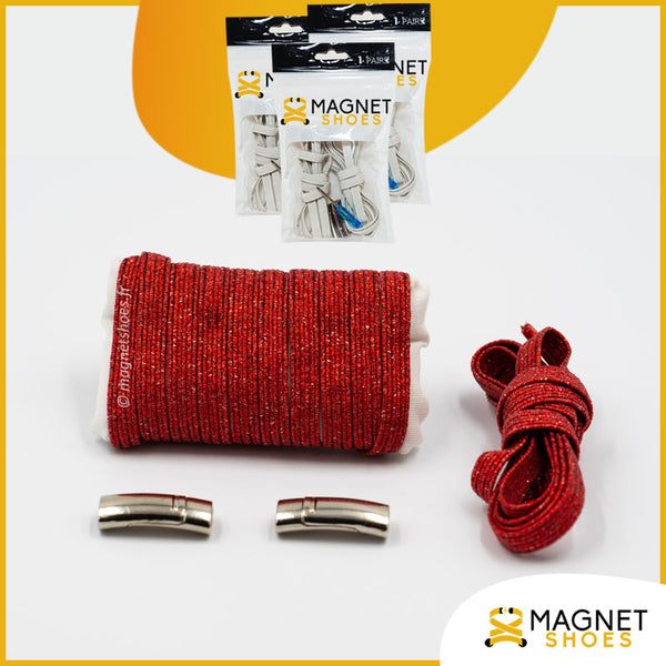 Lacet magnet shoes elastique brillant rouge